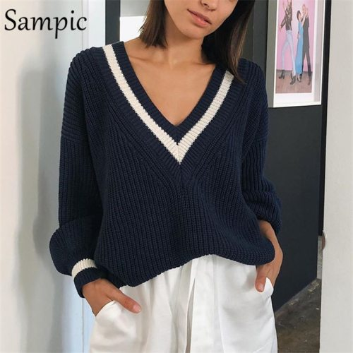 Sampic Winter Women Korean Preppy Style Knitted Basic Sweater Pullover Long Sleeve Beige Casual Sweater Jumpers Tops Outerwear