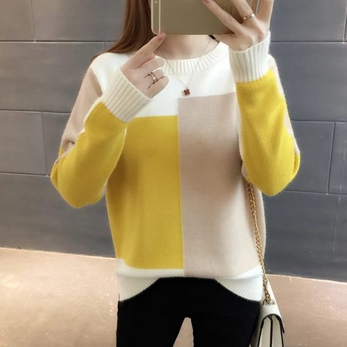 Sweater Women Winter Warm Knitted Pullover Loose Sweater Contrasting Colors Long Sleeve Round Neck Sweaters For Women