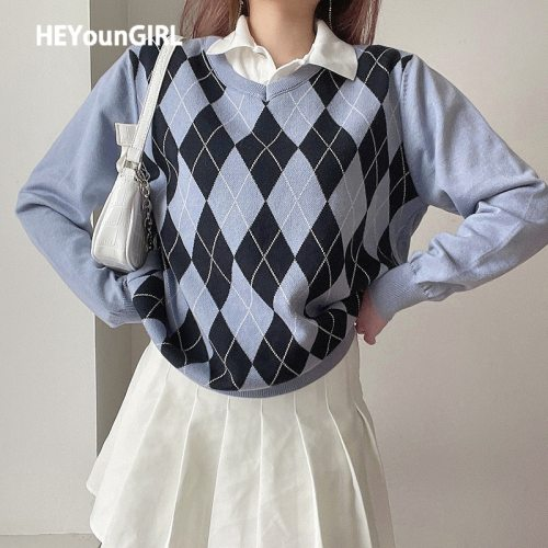 HEYounGIRL Casual Loose Autumn Winter Knitted Sweater Women Y2K Argyle Long Sleeve Jumper Ladies Preppy Style Pullover Knitwear