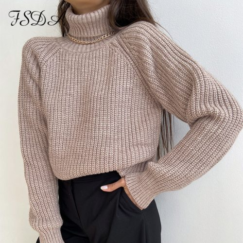 FSDA Turtleneck Women Sweater Women Khaki Long Sleeve Pullover 2020 Autumn Winter Casual Pink Jumper Loose Sweaters Oversized