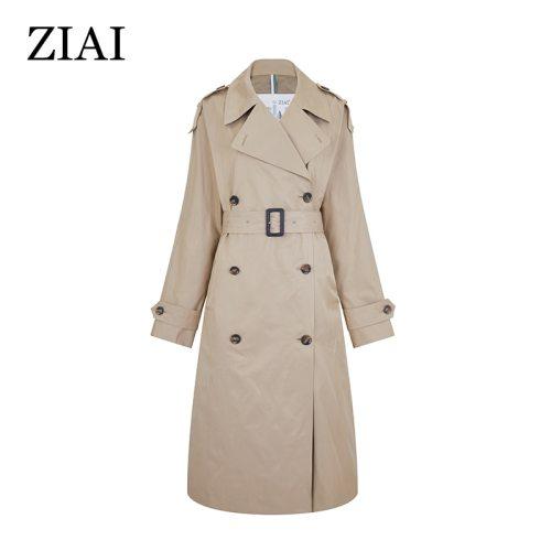 ZIAI 2020 hotsale women  spring long light trench coat warm lapel female windbreaker long sleeve lady casual stock ZS-7246