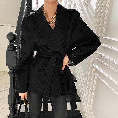 HziriP Streetwear Stylish Sashes All Match Solid Warm Woolen Women Chic Minimalist 2021 Korean Loose Coat High Waist New Jackets