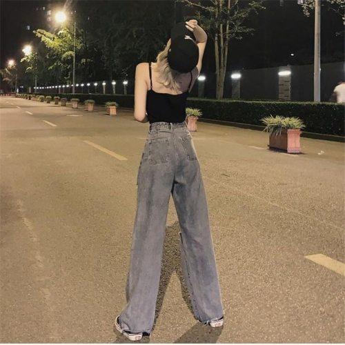 vintage High Waist Ripped tassel full length Mom Jeans Women Plus Size Harajuku Wide Leg Clothes trousers Streetwear Denim Pants