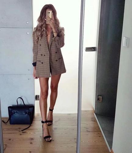 ZA Women 2020 Fashion Office Wear Double Breasted Blazers Coat Vintage Long Sleeve Pockets Female Outerwear Chic Tops