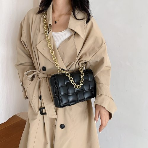 Fashion Weave Crossbody Bags for Women 2021 Quality PU Leather Thick Chain Shoulder Messenger Bags Female Handbag And Purse