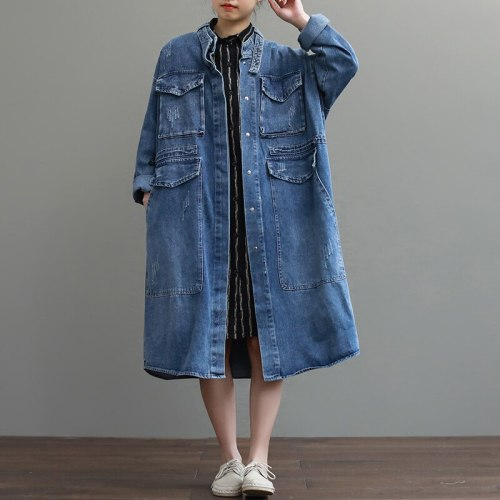 Cheap Oversize Casual Cowboy Trench Coat for Women Loose Outwear Long Denim Jean Coat Single-breasted Pocket Female Clothes