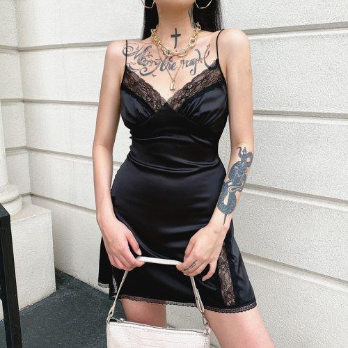 HEYounGIRL Patchwork Lace Satin Sexy Dress Women V Neck Backless Sleeveless A Line Mini Dresses Ladies Elegant Black Dress Party