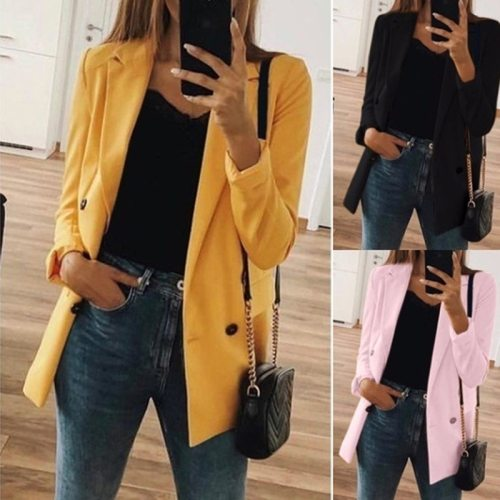Women 2021 Fashion Office Wear Pockets Blazers Coat Vintage Notched Collar Long Sleeve Female Outerwear Chic Tops