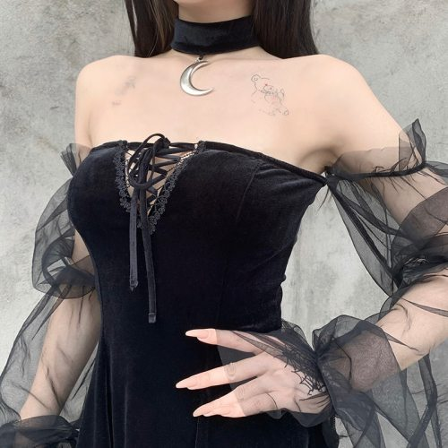 InsGoth Gothic Vintage Sexy Lace Up Black Dress Goth Aesthetic Mesh Long Sleeve Mini Dress Women Harajuku High Waist Party Dress