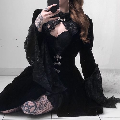 InsGoth Vintage Black Velvet Gothic Dress Women Elegant Hollow Out Sexy Lace Dress Patchwork Mini Female Party Dresses Autumn