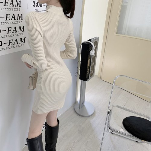 New 2020 Autumn Winter Sweater Dress Women Rib Knit Long Sleeve Mini Sheath Dresses Lace Patchwork Beige Black Vestidos Mujer