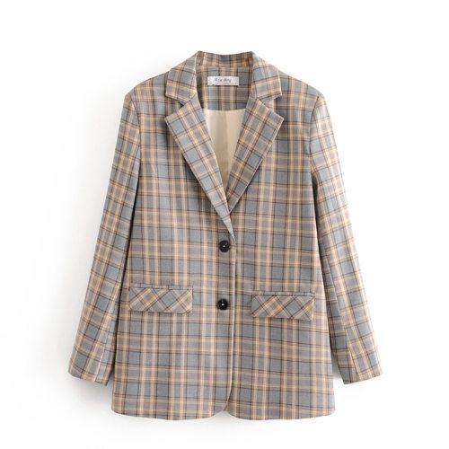 Plaid women elegant blazer suits 2020 vintage ladies notched collar jackets casual female pockets blazers girls chic coats