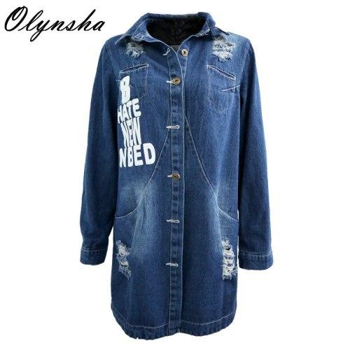 Korean Slim Denim Shirts Jacket Women Mid-long Jeans Jackets Woman Denim Jacket Letter Print Ripped Plus Size Denim Coat Top