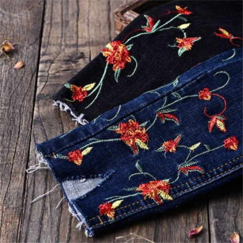 Plus Size Female Pencil Denim Pants Mom skinny Casual high waist trouser Fashion Slim Stretch Flower Embroidered Jeans For Women