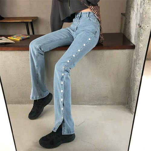 High Waist Side Split Jeans Pant Plus Size Boot Cut Denim Flare Pants Women Clothes Mujer Streetpants Mom Solid Trousers p9640