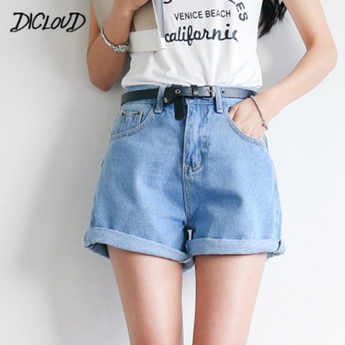 DICLOUD Solid Women Clothing Denim Shorts Harajuku Summer High Waist Jeans Slim Short Pants Feminino Cuffs Casual Jeans Gift 2XL