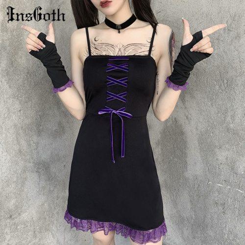 InsGoth Lace Patchwork Vintage Black Mini Dress Gothic Sexy Spaghetti Straps Bandage Dress Casual Fashion Dress Party NighClub
