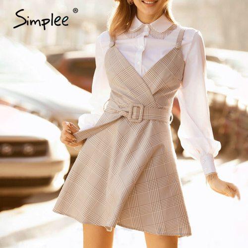 Simplee fashion belt plaid dress women A-line elegant sleeveless autumn female dress Splicing button dress office ladies 2020