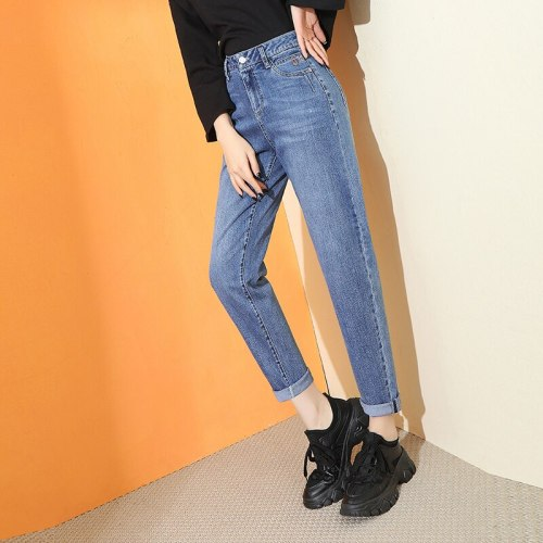 2021 Spring High Waisted Jeans for Women Straight Leg Denim Pants Bottom Vintage Streetwear Harem pant Fashion Clothes Blue