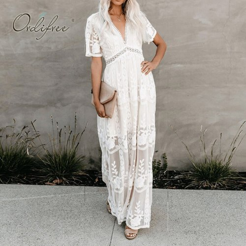 Ordifree 2021 Summer Boho Women Maxi Dress Loose Embroidery White Lace Long Tunic Beach Dress Vacation Holiday Clothes