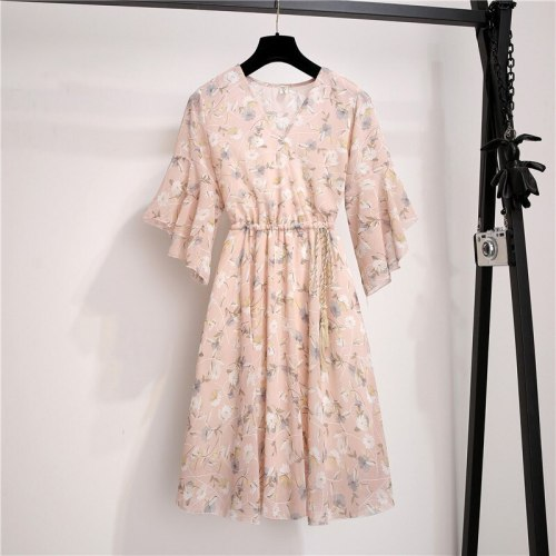 Spring Summer Chiffon Dress Women V-Neck Floral Print Short Dresses Sweet Ruffle Sleeeve Slim 2021 New Drawstring Ladies Dress