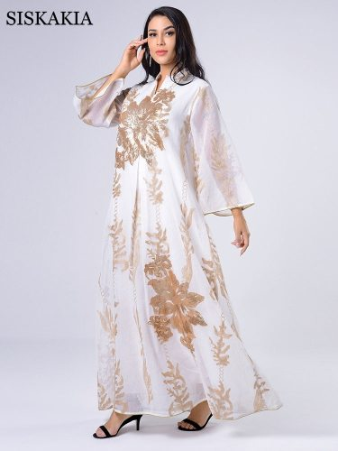 Siskakia Sequins Embroidered Abaya Dress For Women Moroccan Kaftan Turkey Arabic Jalabiya White Islamic Ethnic Robe 2021 Eid New