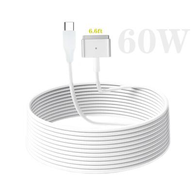 Aioum Type C USB C-磁気充電ケーブル 磁気ケーブルとMacBook Air Pro 60W T-Tip互換 PD to Magsafe2充電器充電ケーブル1.8m