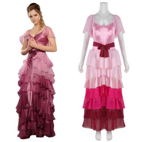 Harry Potter Hermine Granger Rosa Kleid Ballkleid Cosplay Kostüm für Erwachsene Kleid