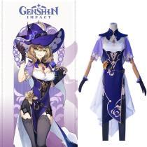 Genshin Impact Lisa Cosplay Kostüm Kleid Halloween Karneval Outfits