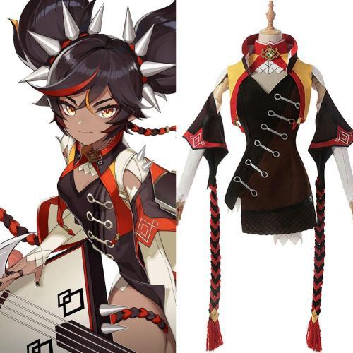 Genshin Impact Xinyan Cosplay Kostüm Kleid Halloween Karneval Outfits
