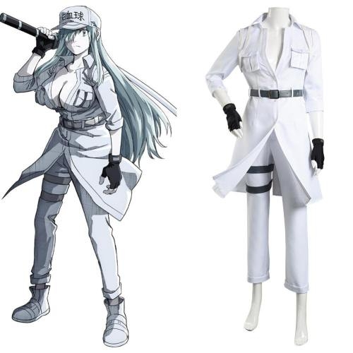 Cells at Work! Code Black Hataraku Saibou Black -Hakkekkkyuu White Blood Cell Cosplay Kostüm