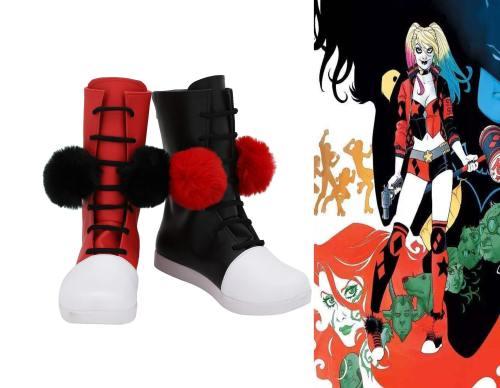 Batman Harley Quinn Stiefel Cosplay Schuhe Stiefel ROT SCHWARZ