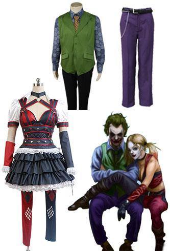 Batman Harley Quinn Cosplay Kostüm und Joker Hose+ Krawatte + Unterhemd + Hemd