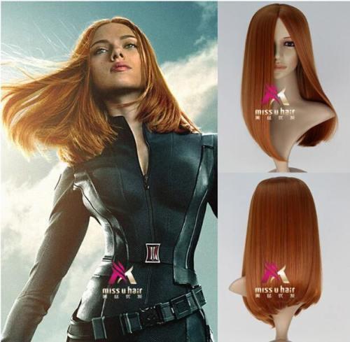Captain America: The Winter Soldier Black Widow Cosplay Perücke Natasha Romanoff glattes Haar Braun