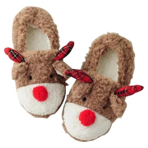 Weihnachten Winter Hausschuhe Memory Foam Plüsch Warm Gefüttert Pantoffel Fleece-Futter Slipper Kuschelig Indoor