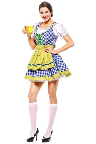 Damen Dirndl Trachtenkleid für Oktoberfest Karneval Kostüm für Erwachsene