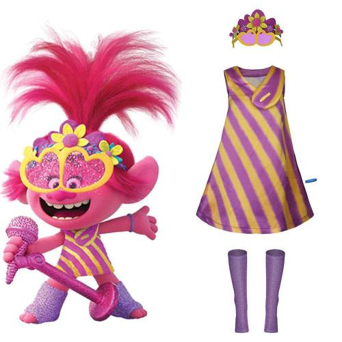 Trolls 2:World Tour-Poppy Cosplay Costume Women Dress Outfits Halloween Carnival Costumes