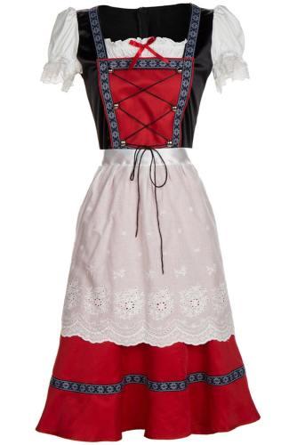 Oktoberfest Dirndl Damen Trachtenkleid mit Schürze Cosplay Kostüm Lang Version