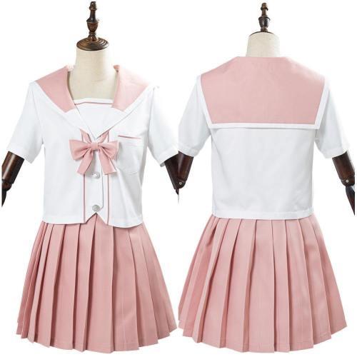 JK Damen Mädchen Schuluniform Cosplay Sommer Kostüm mit rosa Bogen