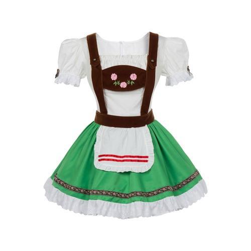 Oktoberfest Dirndl Damen Trachtenkleid mit Schürze Cosplay Kostüm Grün