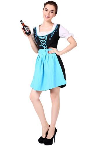 Oktoberfest Dirndl Damen Trachtenkleid mit Schürze Cosplay Kostüm Blau Rot