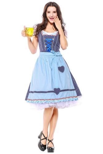 Damen Dirndl Trachtenkleid mit Schürze für Oktoberfest Karneval Kostüm M-XXXL