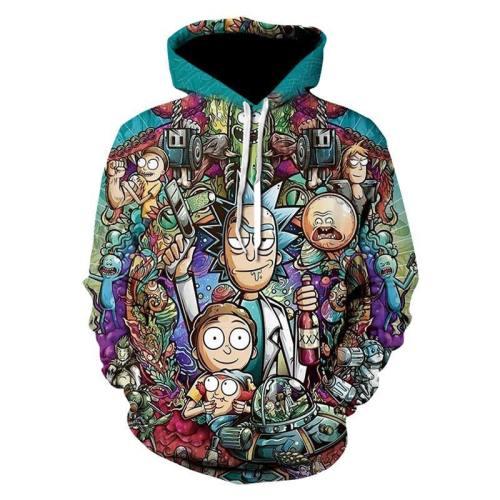 Rick and Morty Hoodie Hooded Pullover mit Kaputze Sweatshirt Pulli Erwachsene