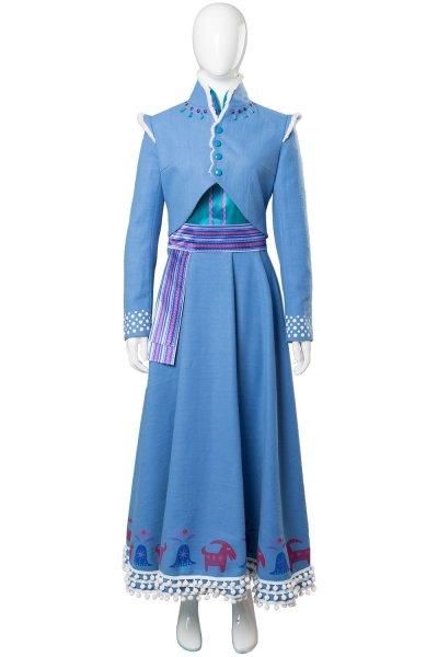 Frozen Die Eiskönigin – Olaf taut auf die Eiskönigin Prinzessin Anna Cosplay Kostüm Kleid Blau