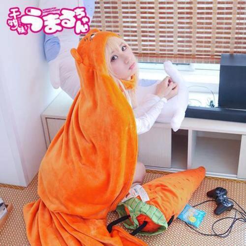 Himouto! Umaru-chan Doma Umaru Cosplay Flanelle Cloak Cape Umhang Hoodie 160cm*110cm