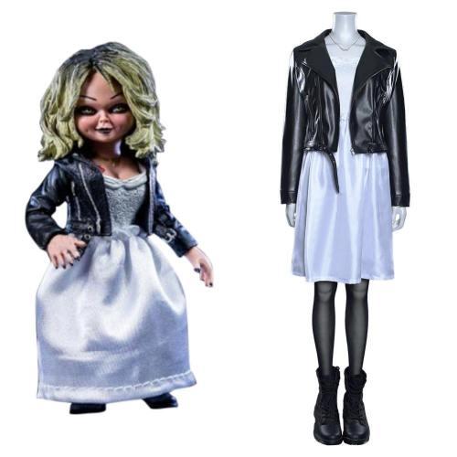 Chucky und seine Braut Bride of Chucky Tiffany Kleid Cosplay Halloween Karneval Kostüm
