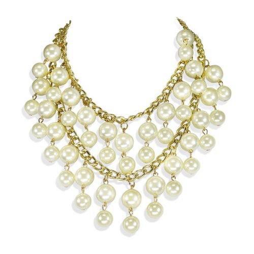 2 Broke Girls Caroline Double Layer Pearl Pendant Necklace Halskette Anhänger