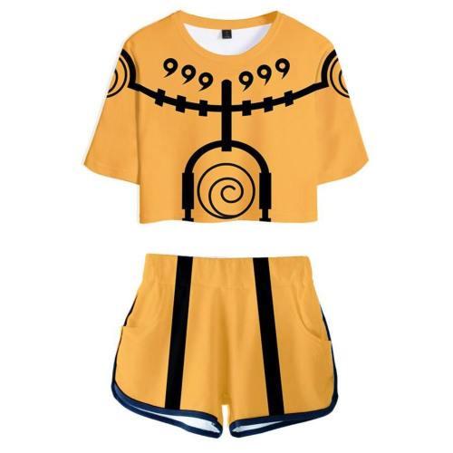 Naruto Uzumaki webliche T-Shirt Shots Set Sommer T-Shirts Damen Oberteil Kurzarm