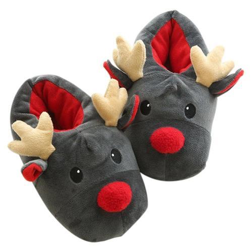 Weihnachten Winter Hausschuhe Memory Foam Plüsch Warm Gefüttert Pantoffel Fleece-Futter Slipper Kuschelig Indoor Deer Hirsch