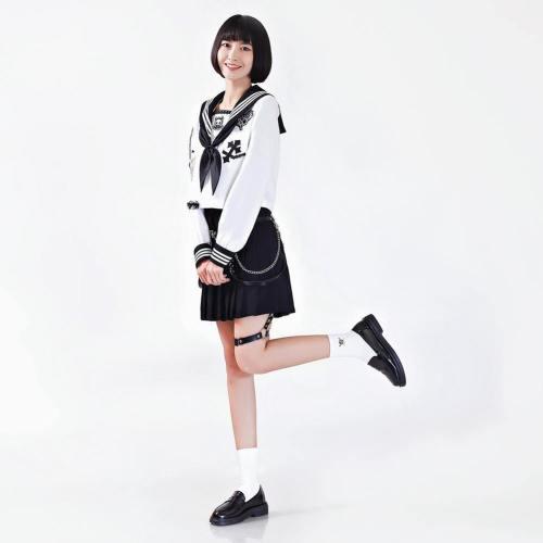Harajuku Mädchen JK Uniform langarm JK Uniform für Mädchen Studentin Matrosenanzug